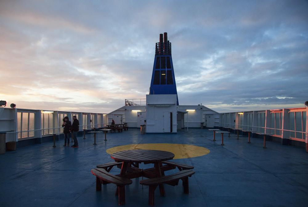Op het dek van de DFDS King Seaways