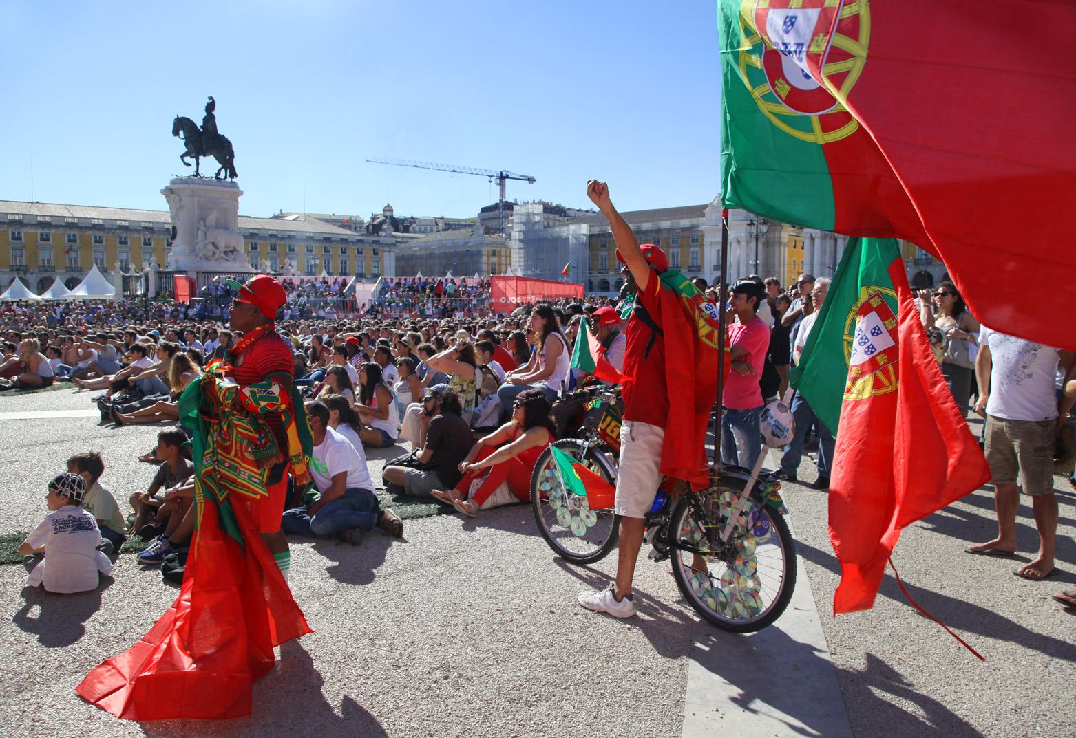 Praça do Comércio plein tijdens het WK 2014 in Lissabon